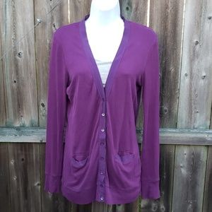 J Crew Perfect Fit Purple Cotton Cardigan